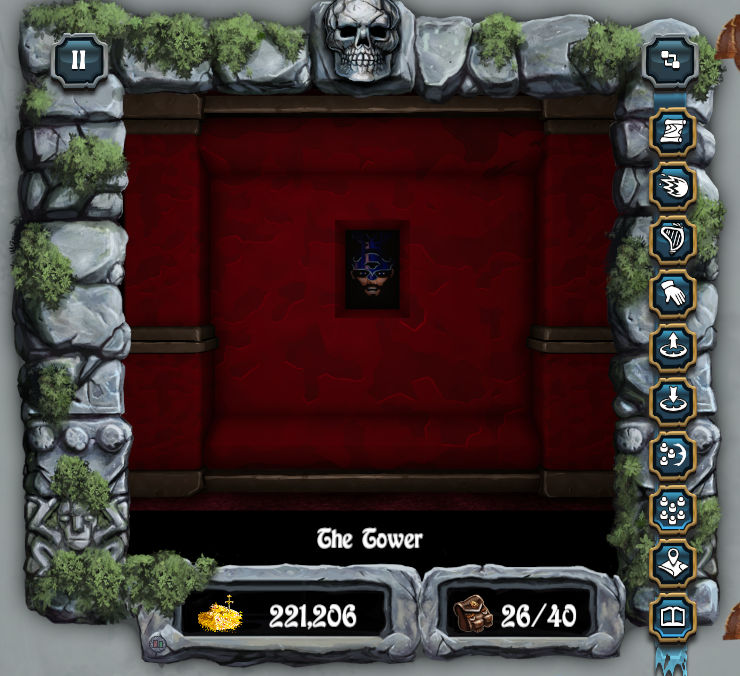 Screenshot of the game, showing the red walls of a room in Mangar's Tower, with Mangar's image looking out from a small video rectangle in the center of the wall