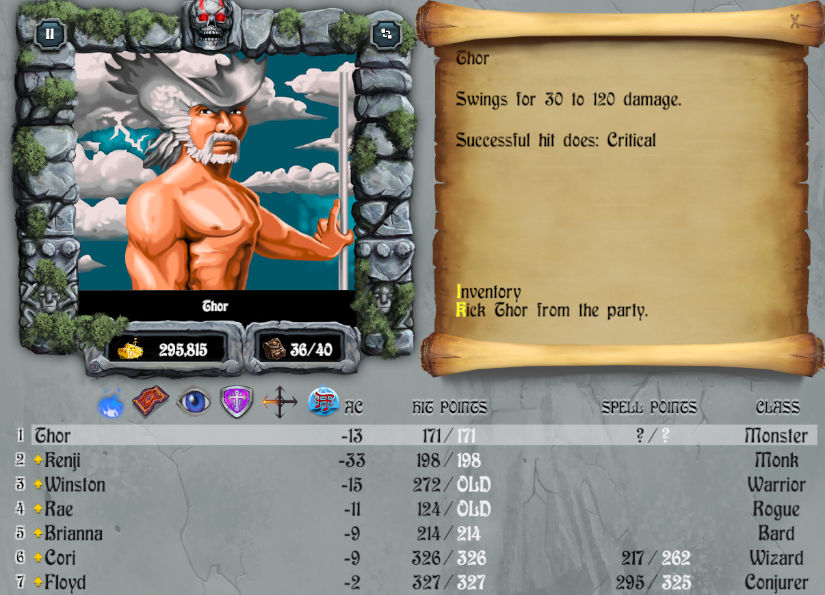 Screenshot of the character detail screen, showing Thor as a white-haired giant and the text '30-120 damage, critical hit'