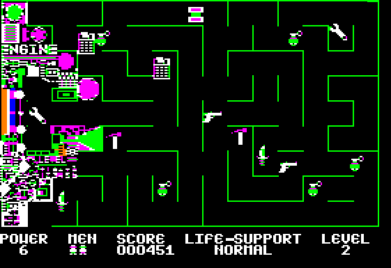 Screenshot of the second level, showing a green maze with some machinery labeled 'engine' on the far left